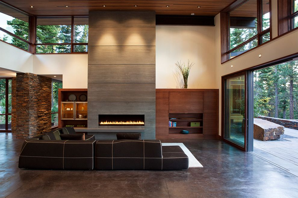 Lowes Stockton Ca for a Contemporary Living Room with a Brown Sectional and Mountain Modern Digs by Ward Young Architecture & Planning   Truckee, Ca