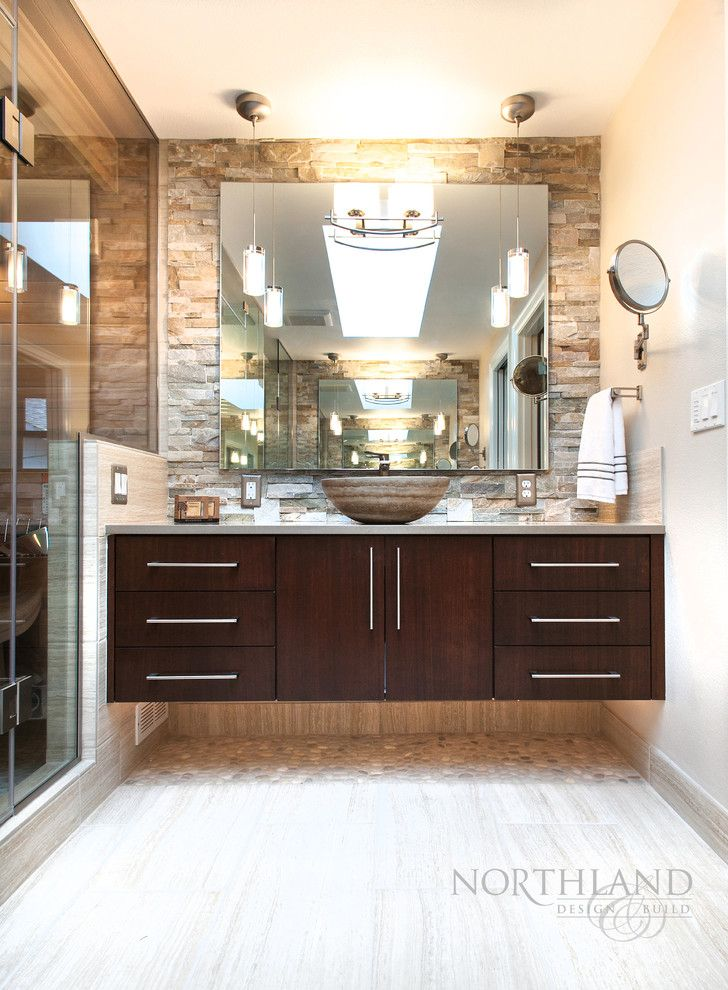 Lowes Tigard for a Contemporary Bathroom with a Pebble Tile and Tigard Treehouse   Sauna Oasis by Northland Design & Build