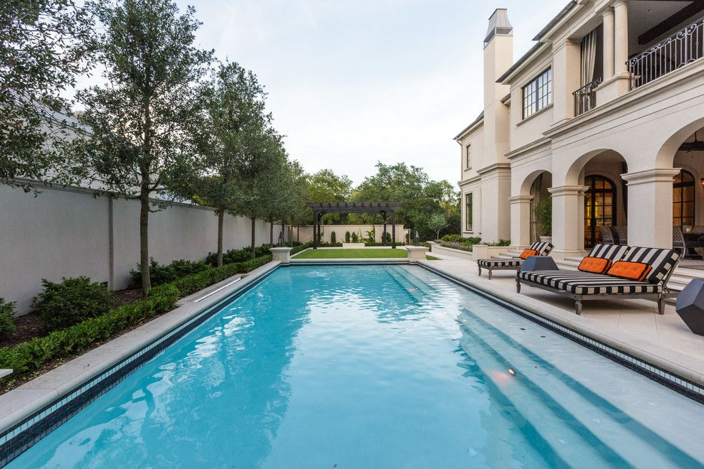 Lowes Tigard for a Mediterranean Pool with a Black and White Stripes and Lexington   Highland Park, Texas by Bob Thompson Homes