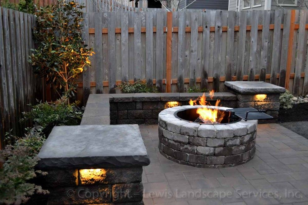 Lowes Tigard for a Modern Patio with a Night Lighting and Paver Patio, Seat Wall, Fire Pit, Outdoor Lighting, Landscaping by Lewis Landscape Services, Inc.