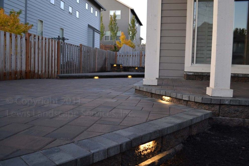 Lowes Tigard for a Modern Patio with a Pavers and Paver Patio, Seat Wall, Fire Pit, Outdoor Lighting, Landscaping by Lewis Landscape Services, Inc.