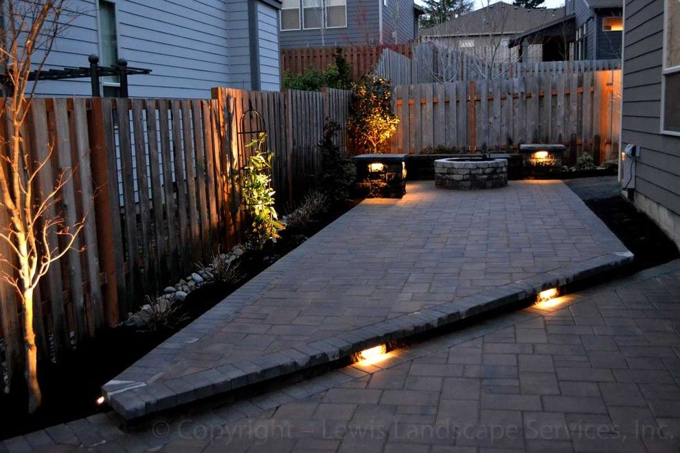 Lowes Tigard for a Modern Patio with a Tigard and Paver Patio, Seat Wall, Fire Pit, Outdoor Lighting, Landscaping by Lewis Landscape Services, Inc.