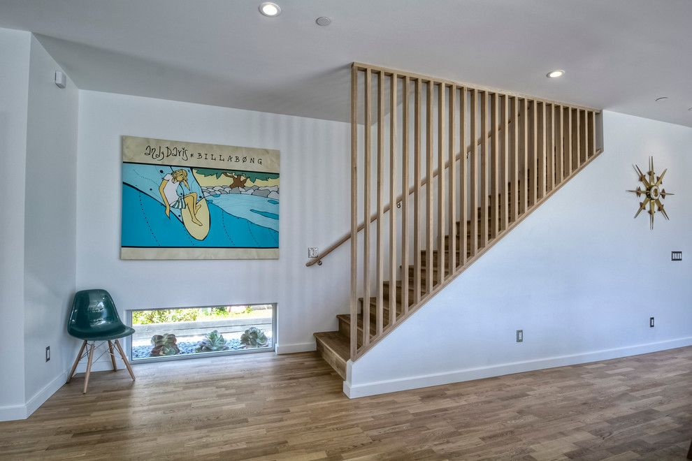 Lowes Tool Rental for a Midcentury Staircase with a Low Window and Mellow Yellow House by Surfside Projects Llc