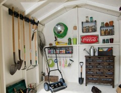 Lowes Tool Rental for a Traditional Shed with a Vintage Coke Sign and Storage Shed Interior Design Ideas by Backyard Buildings