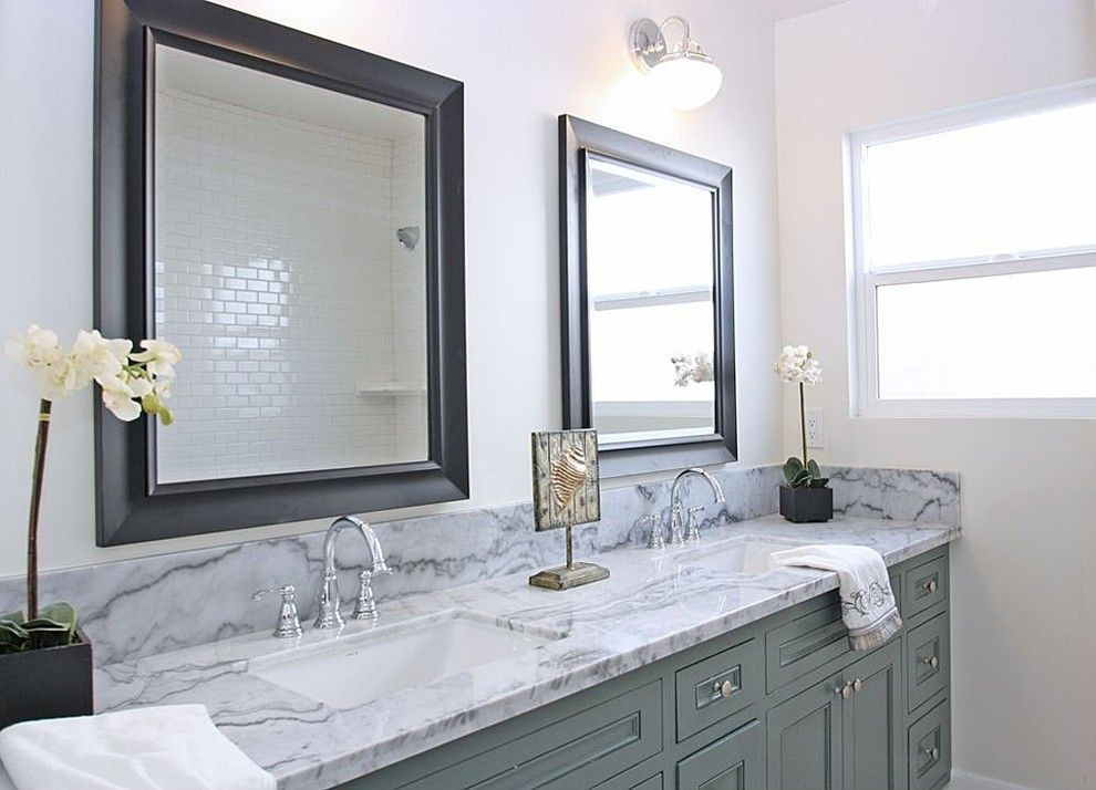 Lowes Torrance for a Beach Style Bathroom with a Double Rectangular Sinks and Torrance Home by Alden Minor Interior Design