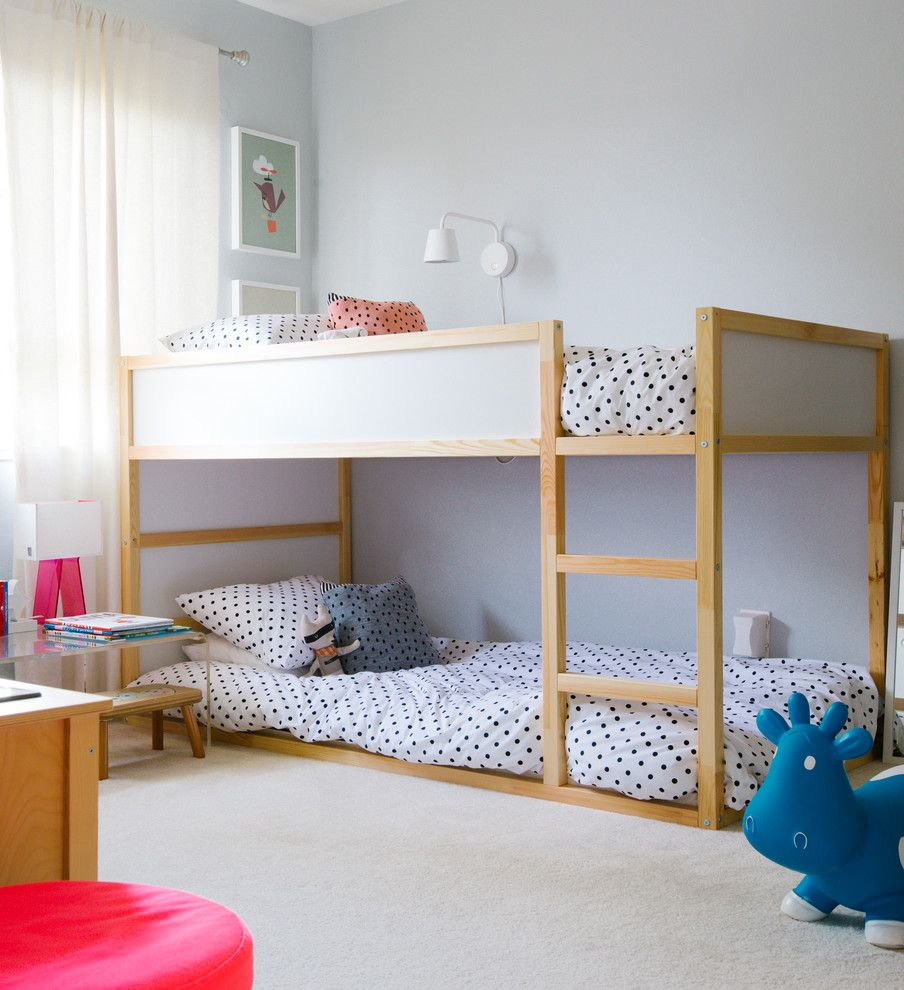 Lowes Twin Falls for a Transitional Kids with a Polka Dot Bedding and an Apartment with a View in San Francisco by Nanette Wong