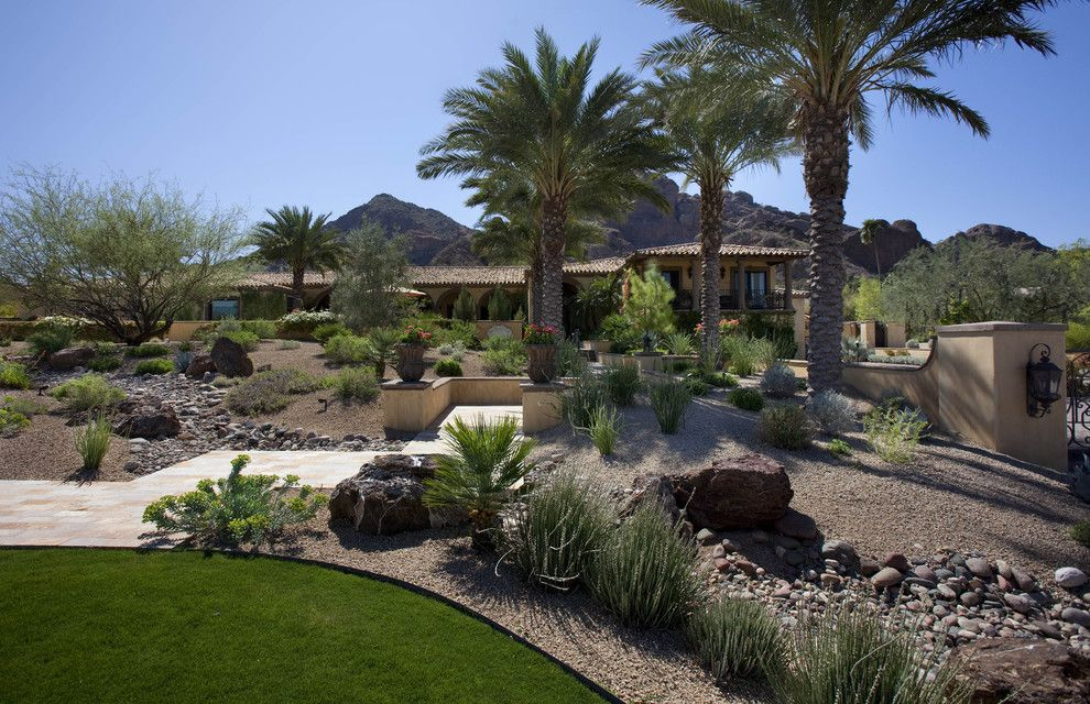 Lowes Yuma Az for a Southwestern Landscape with a Container Plant and Tropical Landscaping by Exteriors by Chad Robert