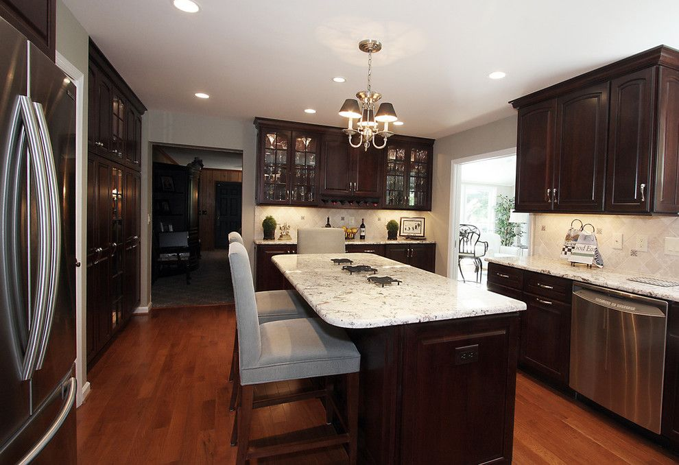 Luna Pearl Granite for a Contemporary Kitchen with a Glass Front Cabinets and Gorgeous Kitchen Remodel by Nvs Remodeling & Design