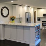 Luna Pearl Granite for a Contemporary Kitchen with a Shaker Kitchen Cabinet and White Kitchen Cabinets by Cliqstudios Cabinets