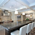 Luna Pearl Granite for a Transitional Kitchen with a Chandelier and Kitchen by Bruce Johnson & Associates Interior Design