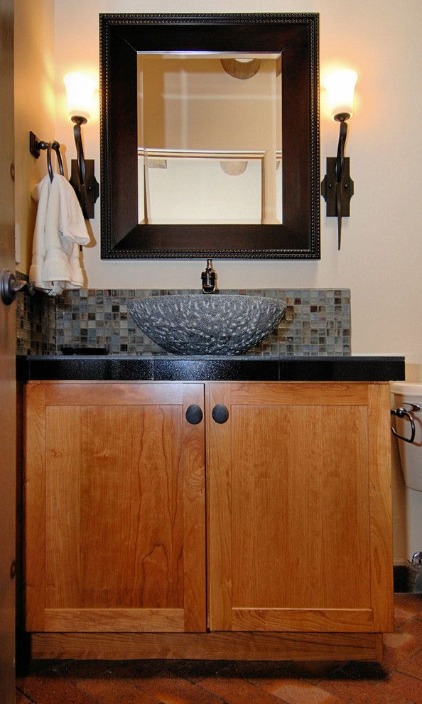 Lunada Bay Tile for a Asian Powder Room with a Wall Sconces and Zenteriors by Zenteriors by Camian Larson