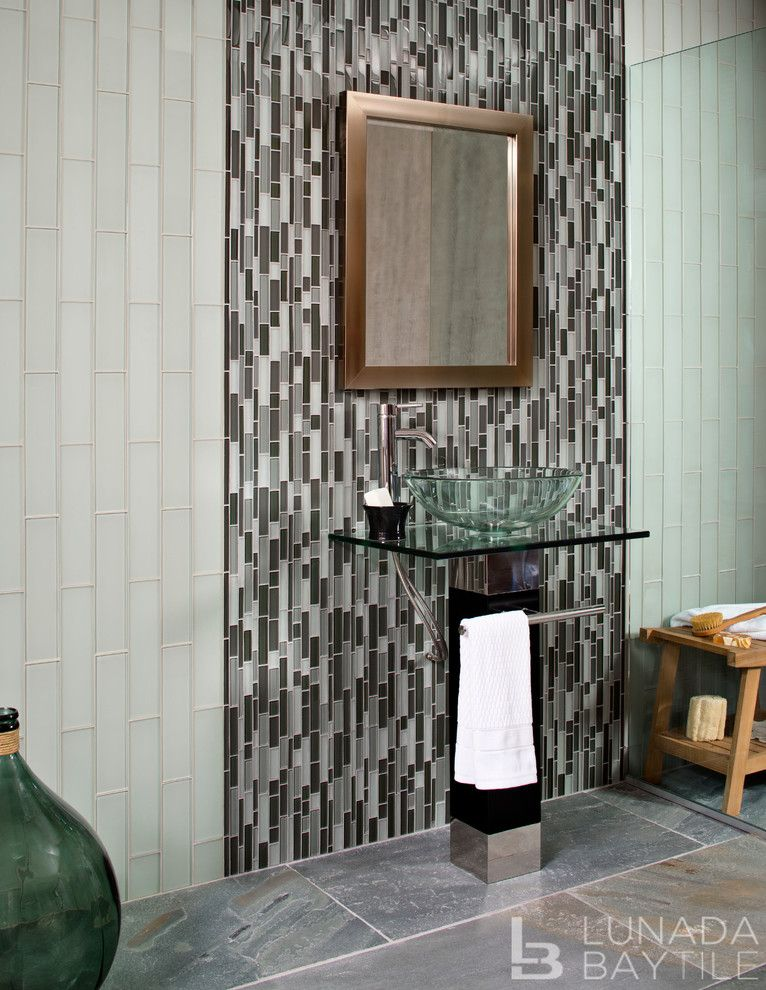 Lunada Bay Tile for a Beach Style Bathroom with a Border and Tomei Glass Tile by Lunada Bay Tile