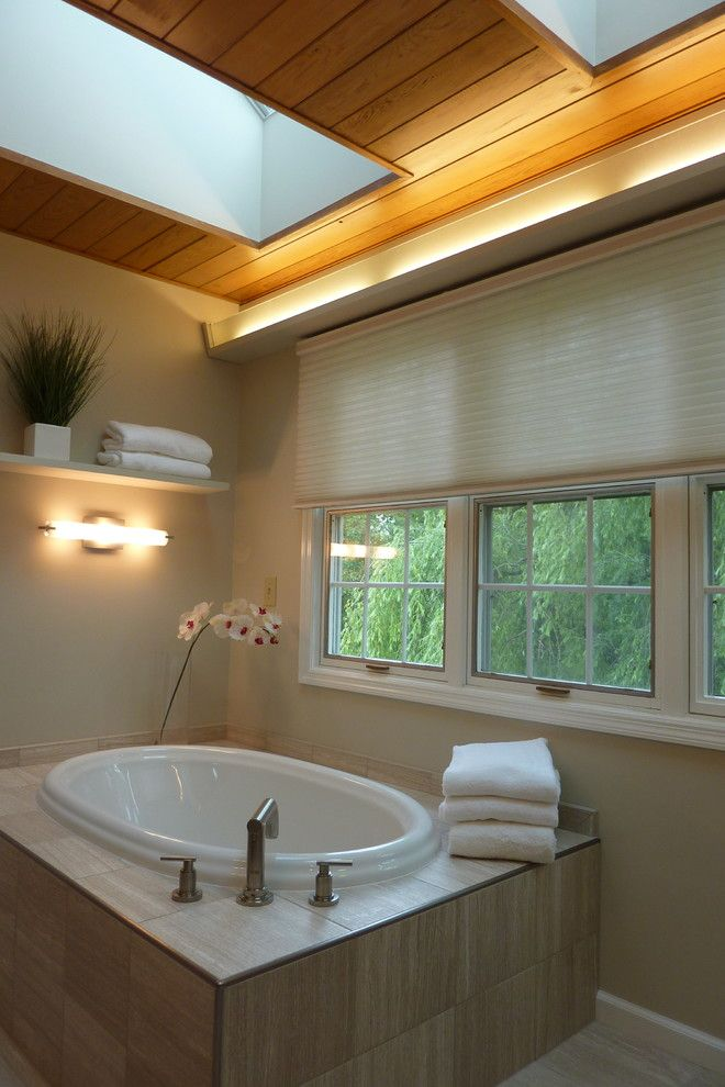 Lunada Bay Tile for a Contemporary Bathroom with a Skylights and Albany Bathroom Designs by Hudson Valley Design