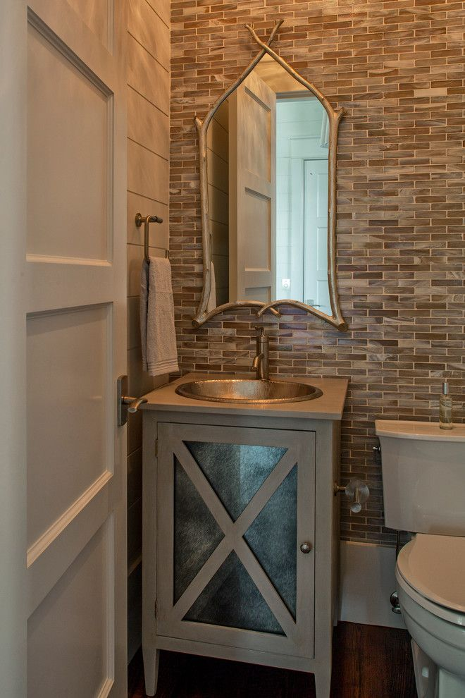 Lunada Bay Tile for a Eclectic Powder Room with a Eclectic and Holley Residence by Geoff Chick & Associates