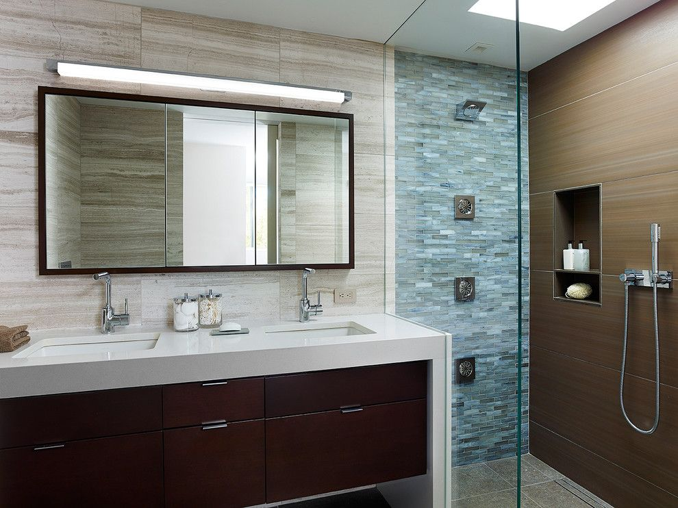 Lunada Bay Tile for a Modern Bathroom with a Framed Medicine Cabinet and Society Hill Townhouse Ii by K Yoder Design, Llc