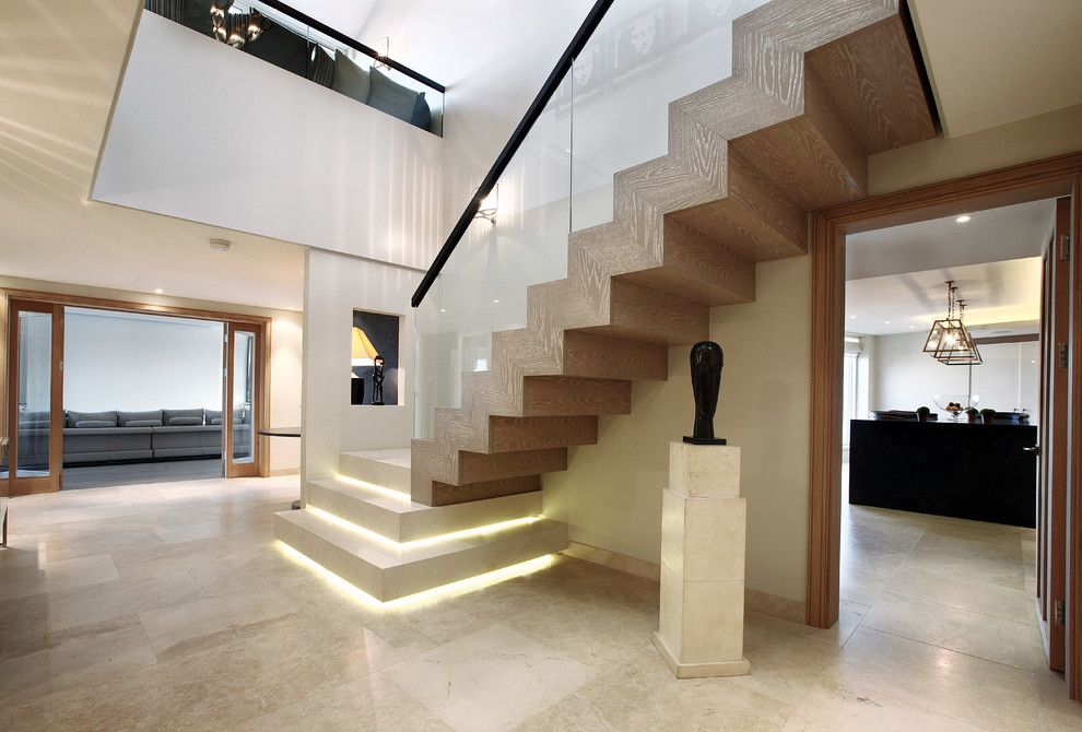 Luxart for a Contemporary Staircase with a Large Modern Apartment and Fulham Apartment by Alex Maguire Photography