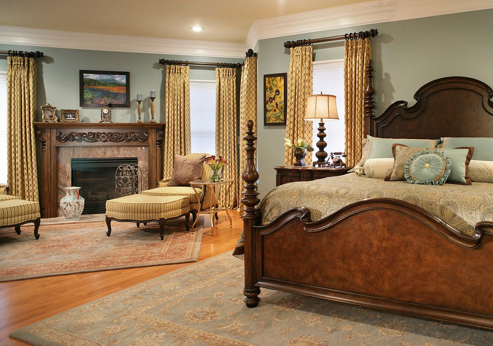 Luxart for a Traditional Bedroom with a Teal Color Wall Paint and Traditional Bedroom by Klimadesigngroup.net