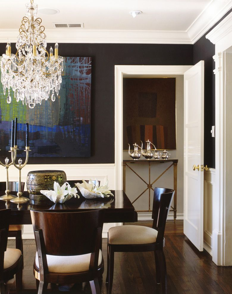 Luxart for a Traditional Dining Room with a Dark Floor and Traditional Dining Room by Philipnimmodesign.com