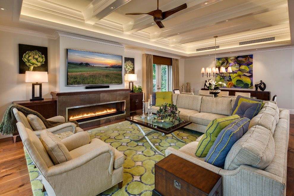 Luxart for a Tropical Living Room with a Glass Top Coffee Table and Naples Pelican Bay Carlton Place Villa Remodel by 41 West