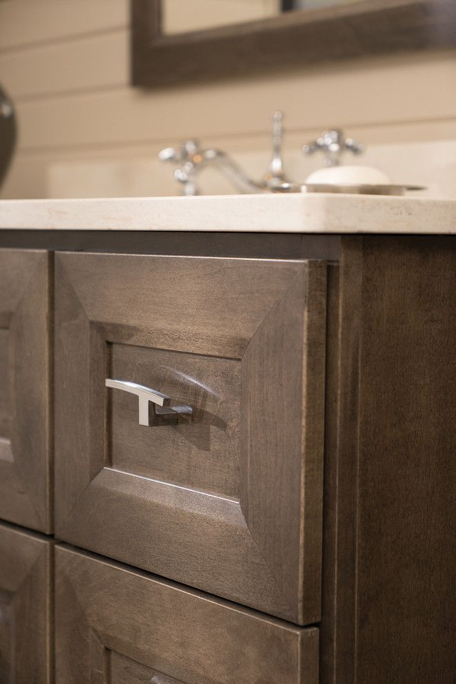 Lynden Door for a Transitional Bathroom with a Bath Furniture and Beautifully Beveled Bathroom Bliss Furniture Vanity and Linen Cabinet by Dura Supreme Cabinetry