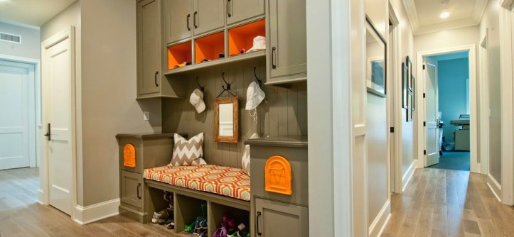 Mailboxes Near Me for a Traditional Hall with a Orange Patterned Cushion and Brentwood Traditional 1 by P2 Design