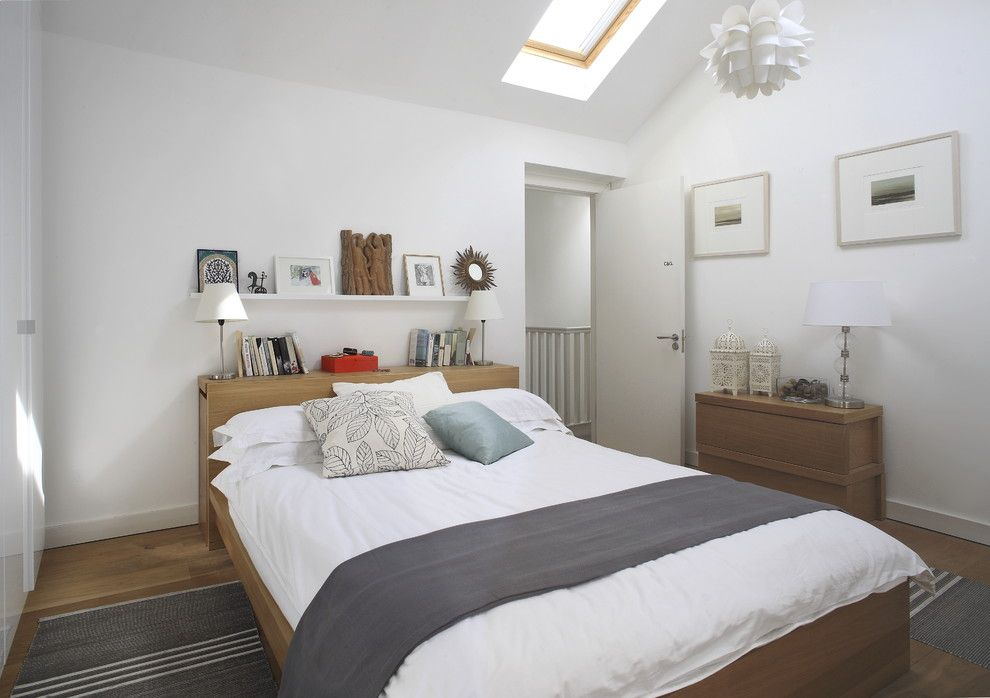Malm Bed Frame for a Contemporary Bedroom with a Sloped Ceiling and Portobello Residence, Dublin by Optimise Design