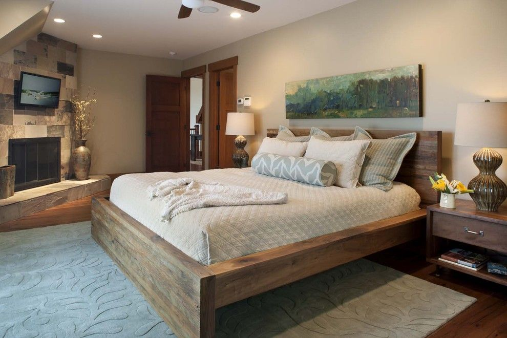 Malm Bed Frame for a Contemporary Bedroom with a Table Lamp and Living Stone Construction, Inc. by Living Stone Construction, Inc.