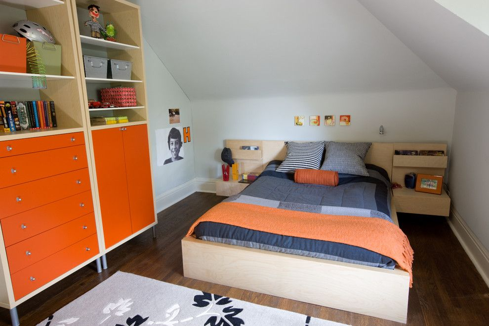 Malm Bed Frame for a Contemporary Kids with a Dark Wood Floors and Braemore Gardens Teen Bedroom by Lisa Lev Design