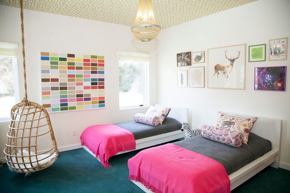 Malm Bed Frame for a Eclectic Kids with a Twin Beds and Twin Girls Bedroom by Abaca Interiors