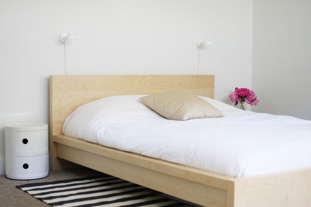 malm bed frame for a scandinavian bedroom with a nightstand and my house by jennifer hagler