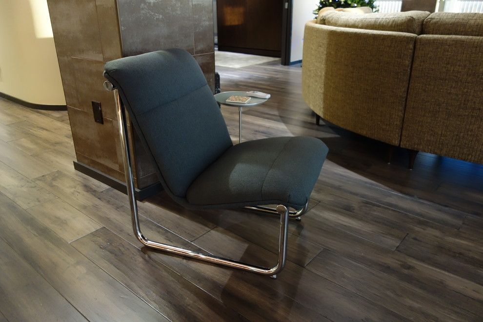 Mannington Commercial for a Modern Living Room with a Modern Chair and Tulsa High Rise Remodel by Tulsa Design Therapy