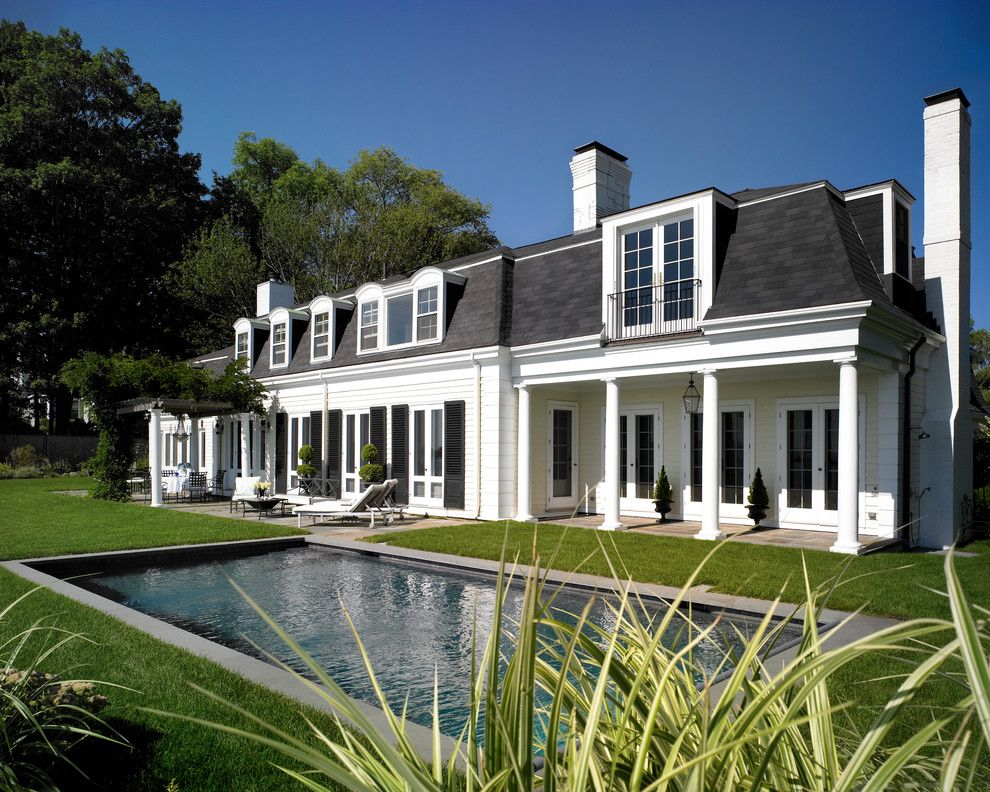 Mansard Roof for a Traditional Exterior with a Classical Porch and Oceanside Oasis by John P. Margolis, Aia