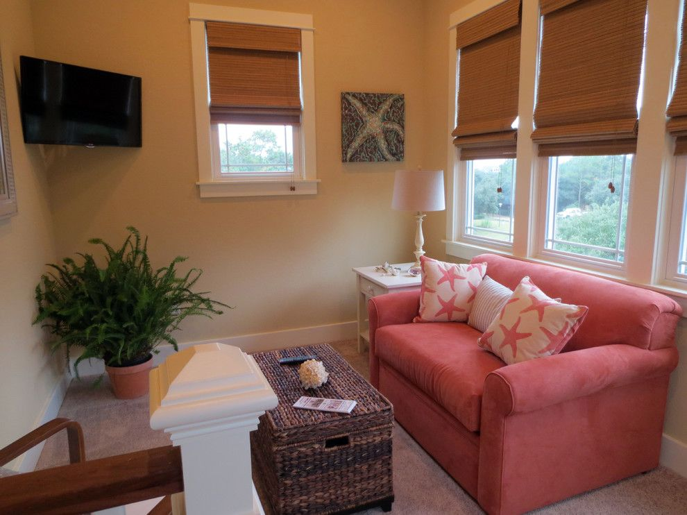 Manteo Furniture for a Beach Style Family Room with a Twin Sleeper and the Barker's Getaway by Obx Interiors