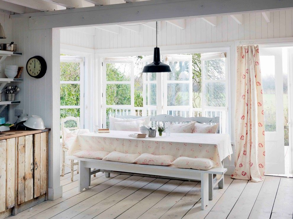 Manteo Furniture for a Shabby Chic Style Kitchen with a Black Pendant and Winchelsea Beach by Cabbages & Roses Ltd