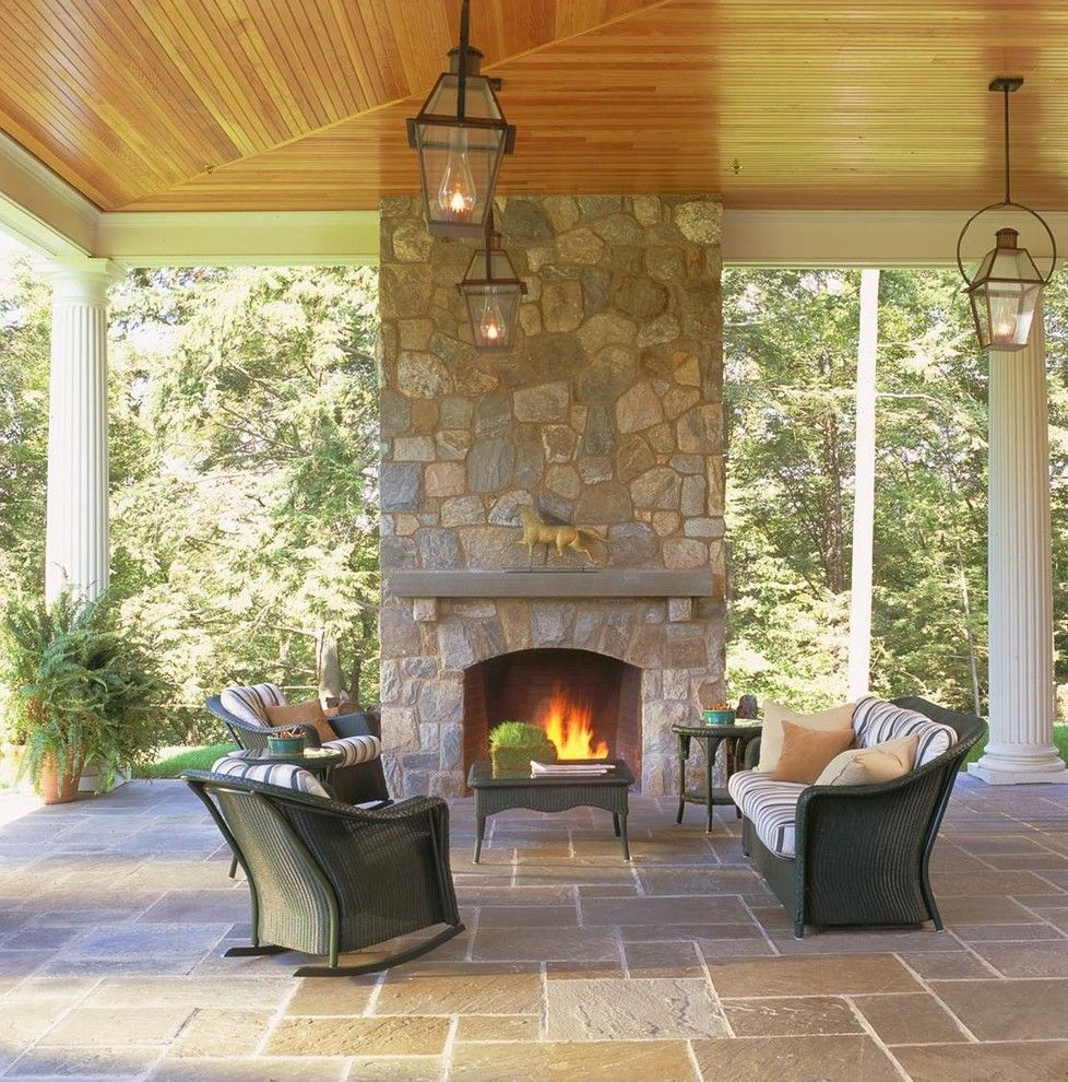 Manteo Furniture for a Traditional Patio with a Wicker Rocking Chair and Outdoor Fireplaces by Mark P. Finlay Architects, Aia