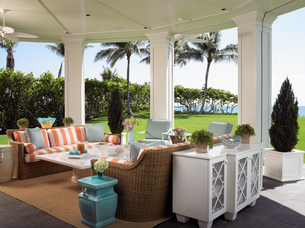 Manteo Furniture for a Tropical Patio with a Shore and Palm Beach Estate by Zabala Erickson, Llc
