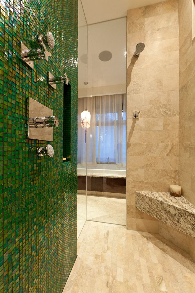 Mapei Grout Colors for a Contemporary Bathroom with a Walk in Shower and the Bauhaus Bathrooms by Habitat Studio