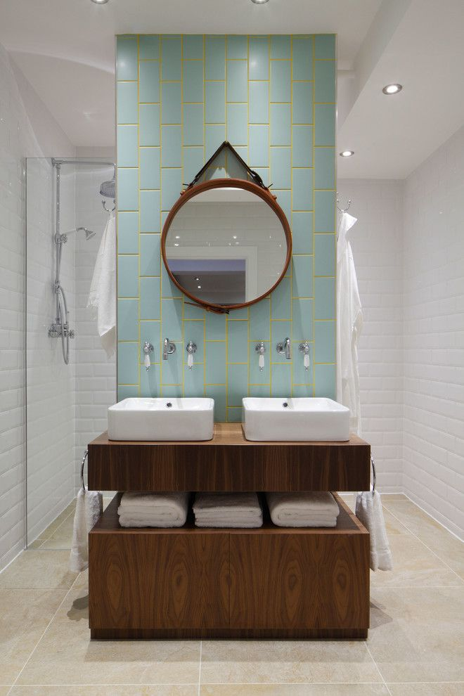 Mapei Grout Colors for a Industrial Bathroom with a Industrial Bathroom and Luxury Loft Apartment Bathroom by Oliver Burns
