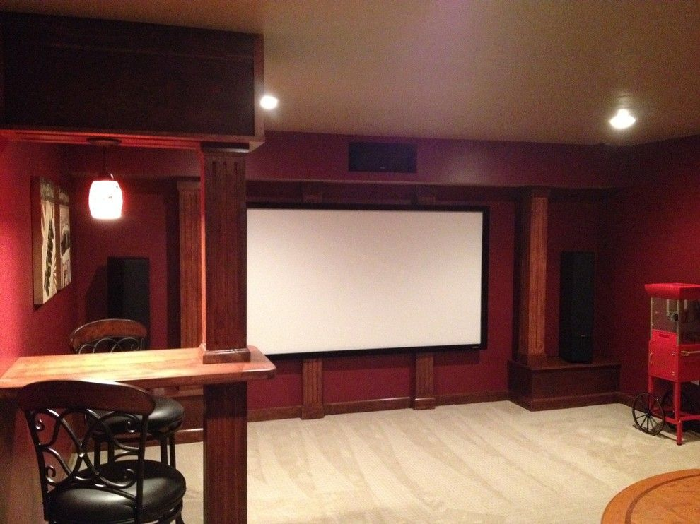 Maple Grove Theater for a Craftsman Home Theater with a Home Theater and Home Theater and Wine Room by Bronson Home Improvements, Llc