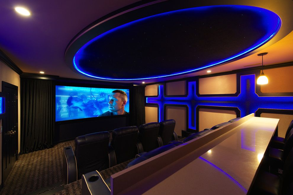 Maple Grove Theater for a Modern Home Theater with a Theater Curtains and Maple Lake by Admit One Home Systems