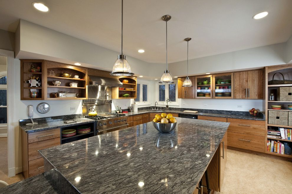 Marble vs Granite for a Contemporary Kitchen with a Industrial Light Fixtures and Fairfax Station Kitchen   Corner Window by Synergy Design & Construction