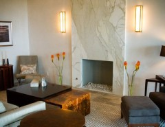 Marble vs Granite for a Contemporary Living Room with a Fireplace and Contemporary Fireplaces by PACIFIC STONEWORKS INC