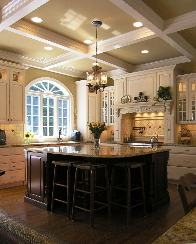 Marble vs Granite for a Traditional Kitchen with a Coffered Ceiling and Macgibbon Kitchen 2 by Cameo Kitchens, Inc.