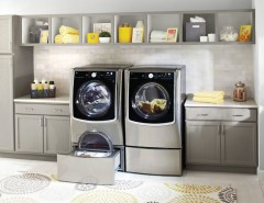 Marlette Homes for a Contemporary Laundry Room with a Gray Cabinets and LG Electronics by LG Electronics
