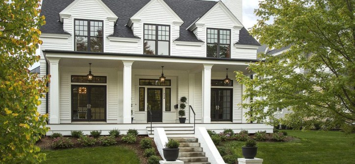 Marvin Integrity for a Transitional Exterior with a Porch and Modern Colonial Four-Square by Charlie & Co. Design, Ltd