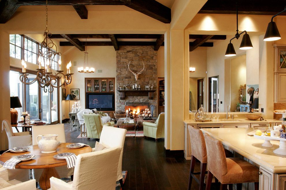 Mascord House Plans for a Traditional Dining Room with a Stone Fireplace Surround and Cottage in the Trees by Alan Mascord Design Associates Inc