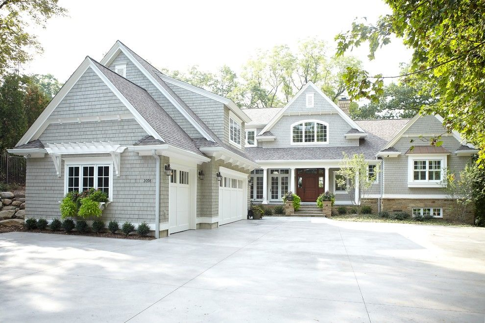 Mascord House Plans for a Traditional Exterior with a Gray Shingle Siding and Fisk Lake by Sears Architects