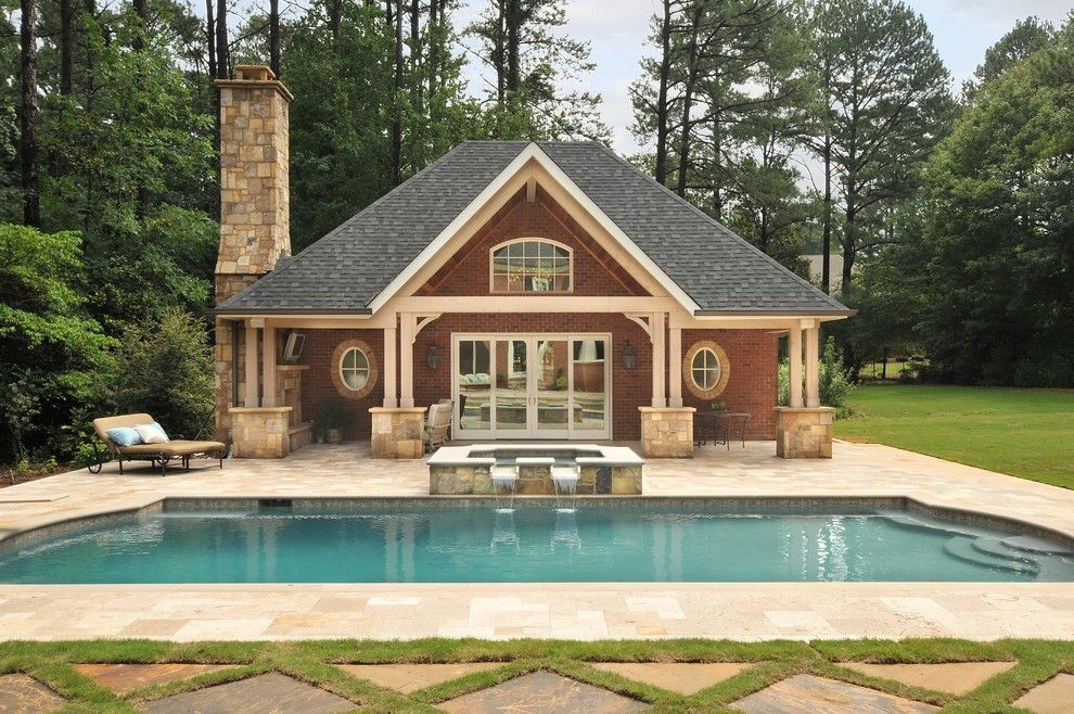 Mascord House Plans for a Traditional Pool with a Outdoor Chaise Lounge and Pool House by Innovative Construction Inc.