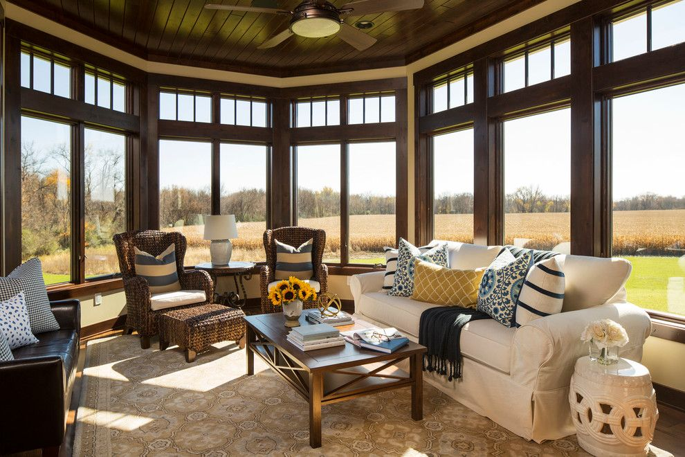 Masins Furniture for a Traditional Sunroom with a Transom Windows and Rochester Country House by Bria Hammel Interiors