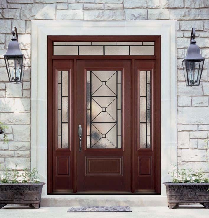 Masonite Doors for a Traditional Exterior with a Doors Glass Exterior and Belleville Mahogany Textured 1 Panel Hollister Door 3/4 Lite with Quattro Glass by Us Door & More Inc